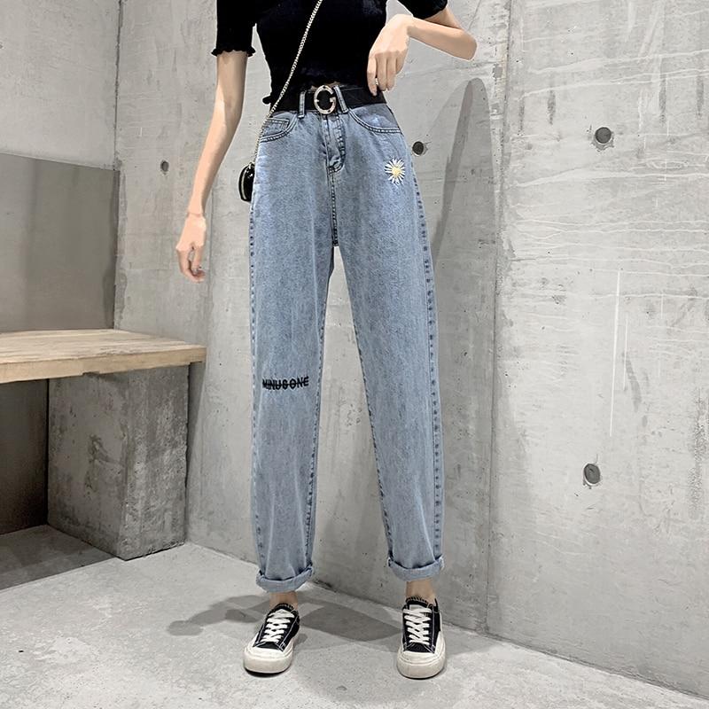 Plus Size Jeans Woman Vintage Blue Denim Pants Jeans Trousers Ladies High Waist Jean Femme Boyfriend Loose Jeans For Women