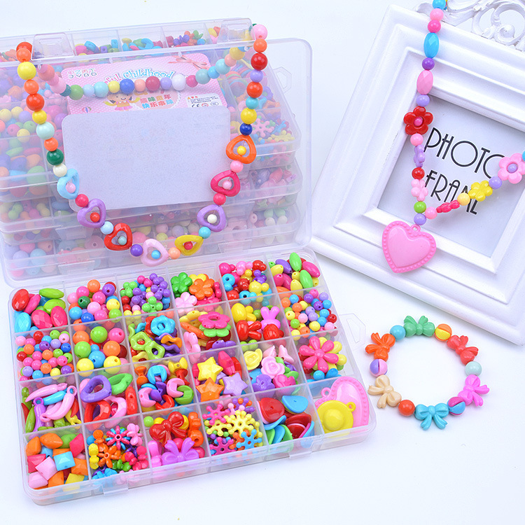 24 Lattice DIY Educational GIRL'S Necklace Beaded Bracelet Weak Sight Correction Acrylic Children Wear Beads Toy Set