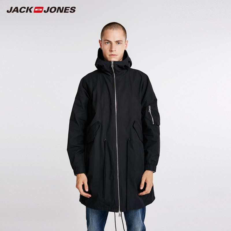 JackJones Men's Hooded Trench Coat Long Jacket Loose Fit Coat Streetwear 218321561