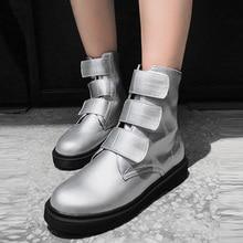 цена на New Fashion Women Martin Boots Winter Ladies Flat Boots Short Plush Magic Sticker Black Silver Ankle Boots Size 34-43 3733