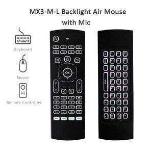 Image 2 - Controle remoto de voz mx3 MX3 L air mouse, 2.4g sem fios, teclado para x96 mini km9 a95x caixa de tv android h96 max