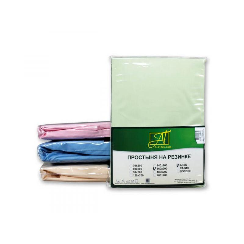 Bed Sheet with elastic band АльВиТек, 200*200 cm, light green, Poplin bed sheet with elastic band альвитек 90 200 25 cm lavender poplin
