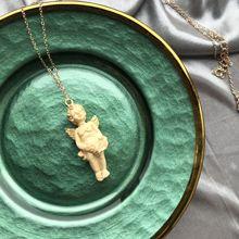 Милое ожерелье с кулоном Купидон Ангел, винтажная Золотая длинная цепь, Детские образные украшения, милая для женщин, мужчин, дружбы, подарки для девочек