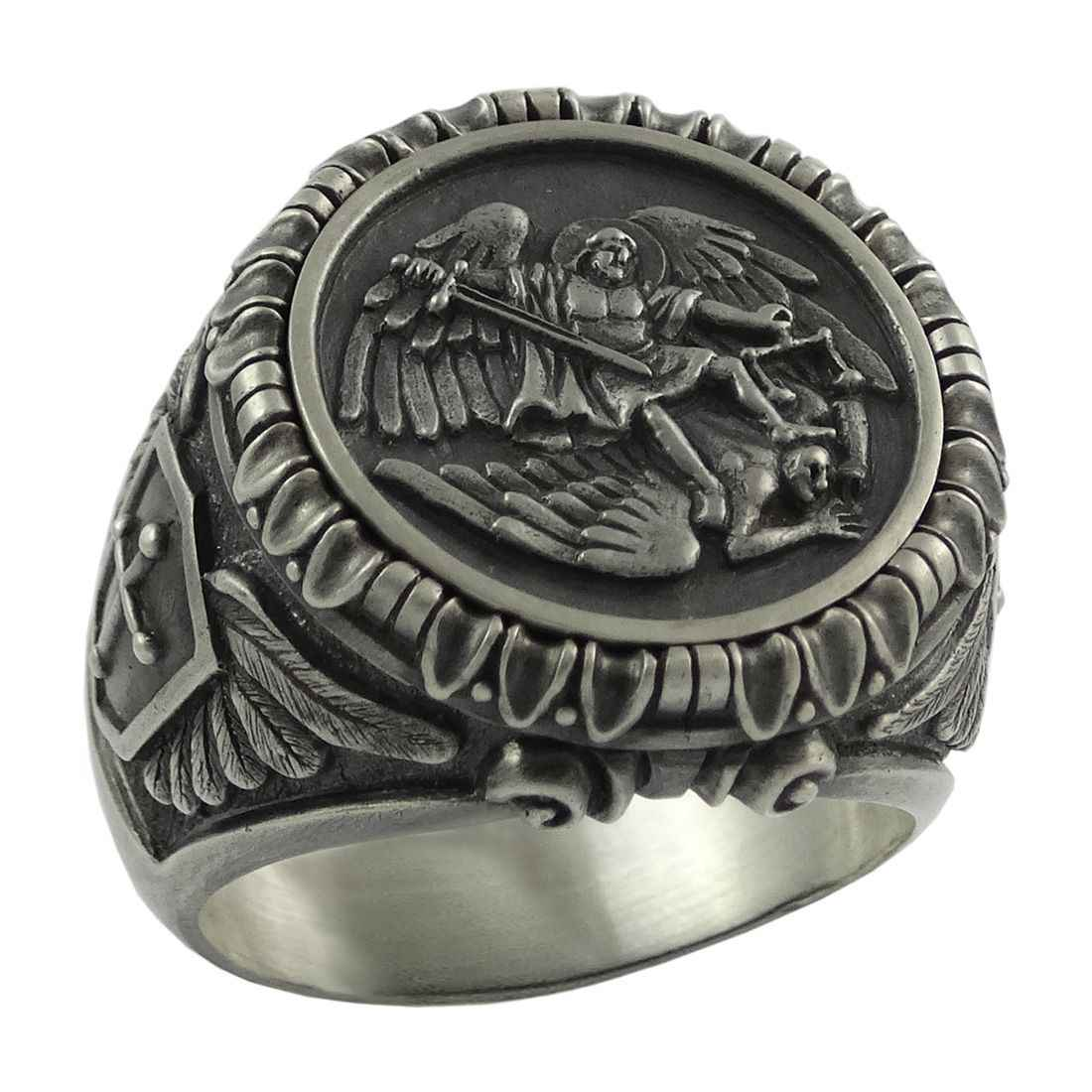 ใหม่บันทึกและป้องกัน Archangel BIKER Mens Knigts Templar 316L แหวนสแตนเลส Guardian Angel เครื่องประดับ