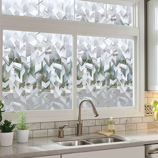 Crystal 3D Privacy Window Film Refraction Glass Film Static Cling Anti-UV Window Sticker Self-Adhesive Vinyl Window Covering 2