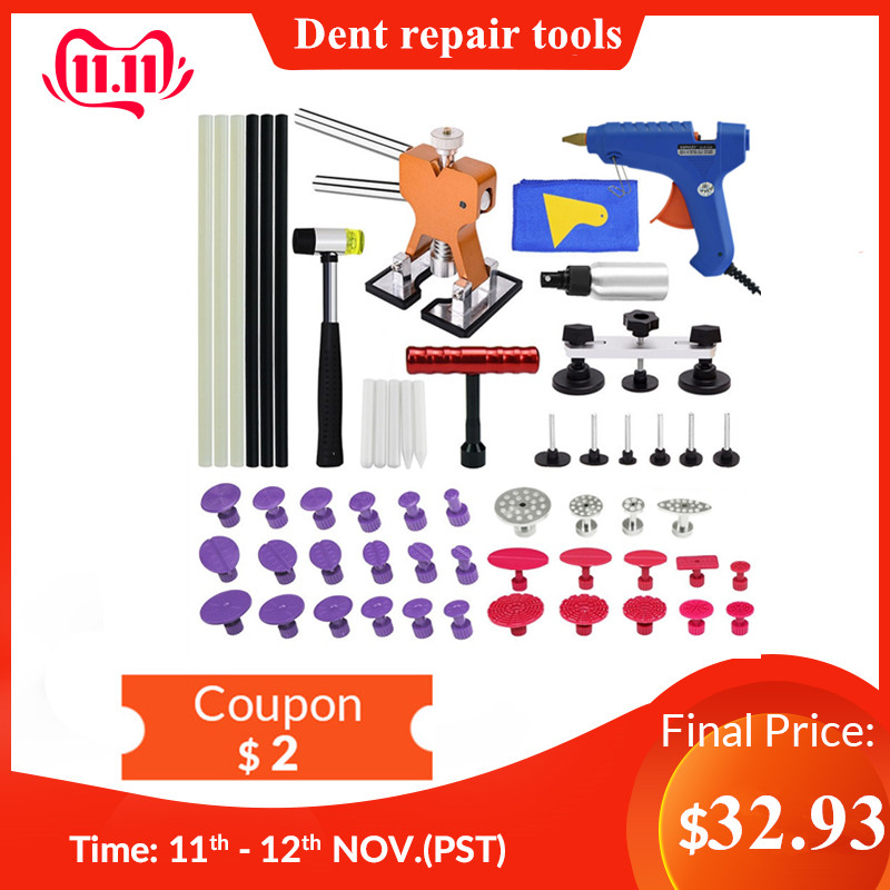 PDR Tools Paintless Dent Repair Tool Dent Puller Kit  Bridge Puller& Glue Gun For Automobile Body Motorcycle Refrigerator