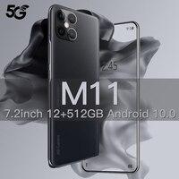 Xiaomi M11 Smartphone Android 10 512gb 7.2 pollici Smart Phone sbloccato 5g cellulari 5000mAh cellulare Celular versione globale