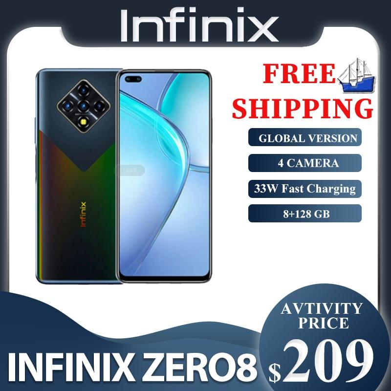 Infinix zero 8 versão global 128g 8g ram octa núcleo 4 90 hz 6.8