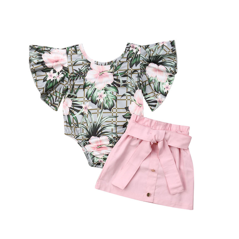 2020 Hawaii Style 2Pcs Set Baby Girl Clothes Kids Children Outfit Floral Top Flare Sleeve Bodysuit + Button Knot Pencil Skirt