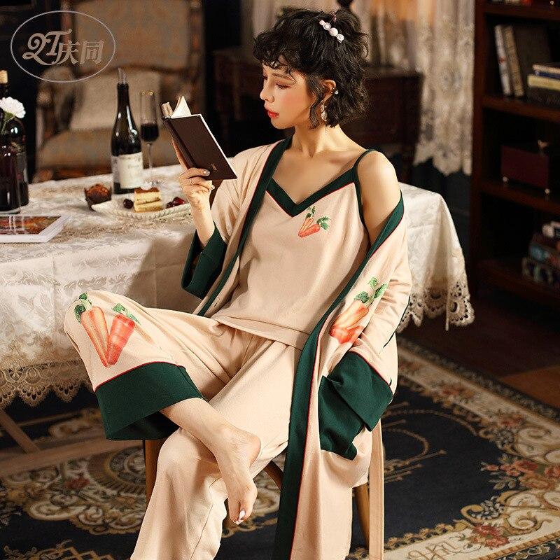 Female Sexy Spring Cotton Pajamas Long Sleeve Spaghetti Strap Kimono 3-piece Suit Loungewear Women Carrot Printing Pijama Mujer