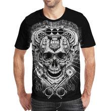 Лидер продаж Цельный футболка темно с принтом «череп» стиль