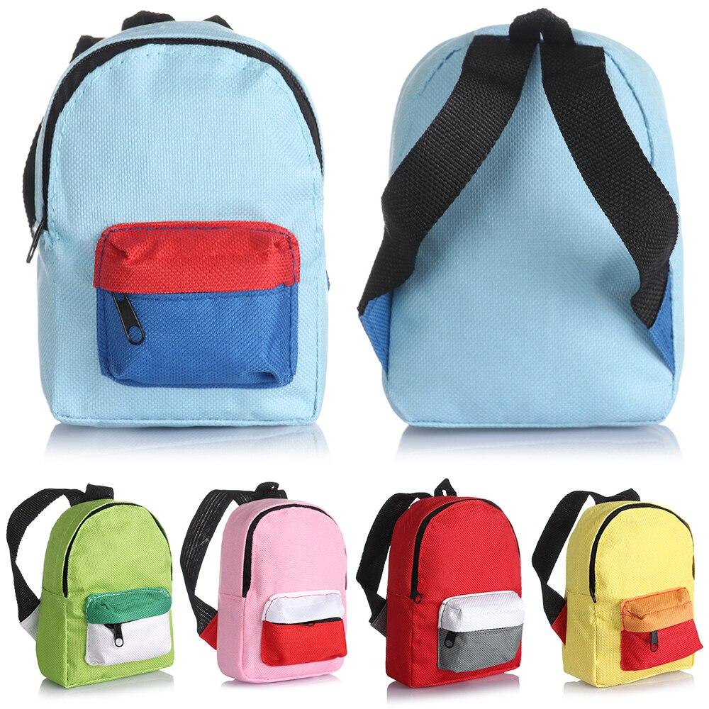 Mini saco de escola bonito apto para 18 Polegada/43cm boneca variedade cores jogando casa brinquedos acessórios zíper mochila mini boneca mochila