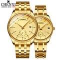 CHENXI золотые наручные часы для мужчин  женские часы  Лидирующий бренд  роскошные кварцевые наручные часы для влюбленных  модные нарядные час...