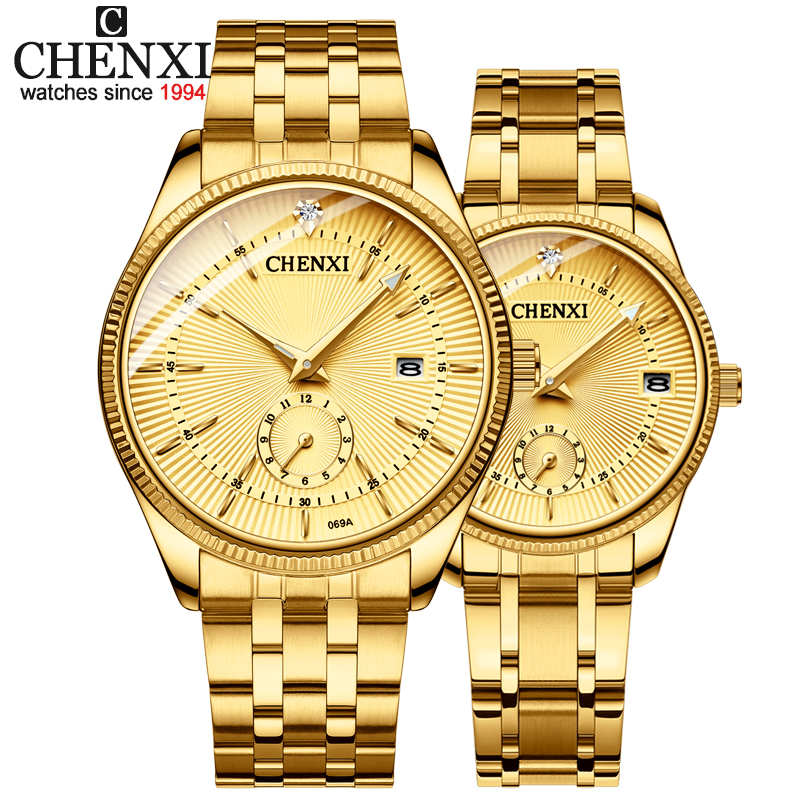 CHENXI Gold Wrist Watch Men Watches Lady Top Brand Luxury Quartz Wristwatch For Lover's Fashion Dress Clock Relogio Masculino(China)