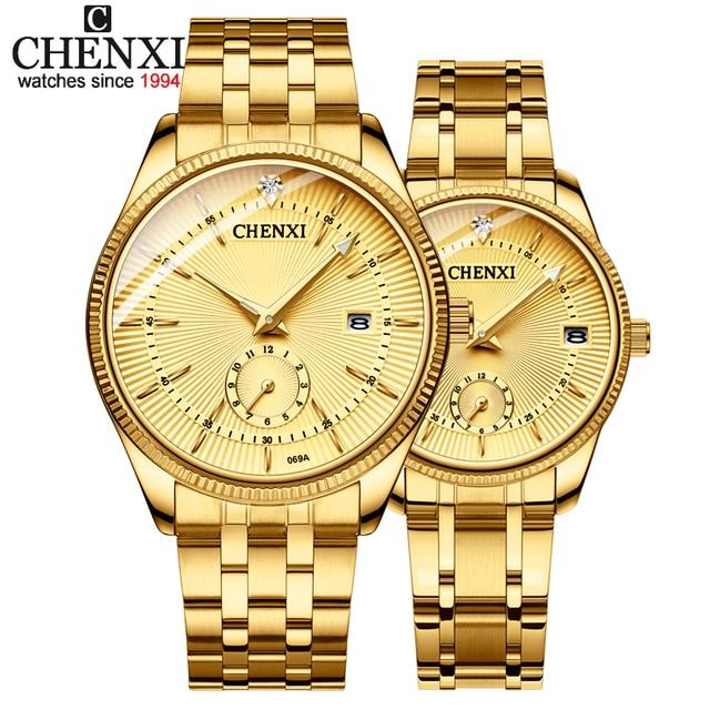 CHENXI Gold Wrist Watch Men Watches Lady Top Brand Luxury Quartz Wristwatch For Lover's Fashion Dress Clock Relogio Masculino
