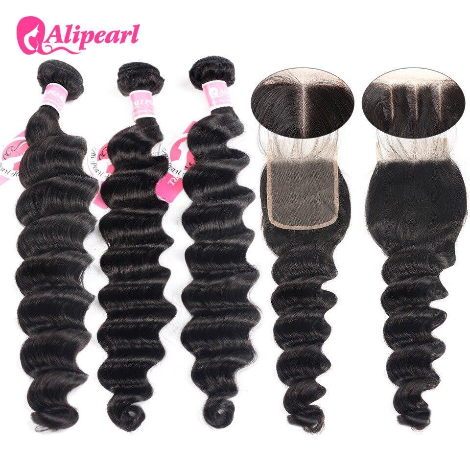 AliPearl, пряди с глубокой волной, с застежкой, бразильские человеческие волосы, 3 пупряди с застежкой 4x4, волосы для наращивания ALIPEARL