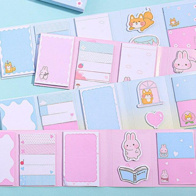 Rabbit Shiba 6 Folding Memo Pad N Times Sticky Notes Memo Notepad Bookmark Gift Stationery