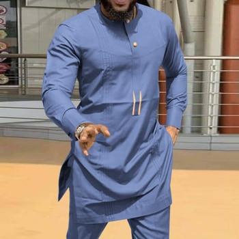 Moroccan Caftan Kaftan Men's Shirt casual Ramada Long Sleeves Dashiki Tops African Mid-Length Ethnic Muslim Man Kurta Clothing abaya dubai 2