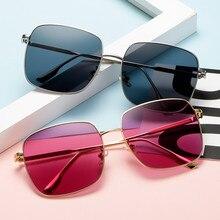 Lunettes De Soleil carrées pour femmes, marque De styliste, grande monture De luxe, haute qualité, Vintage en métal