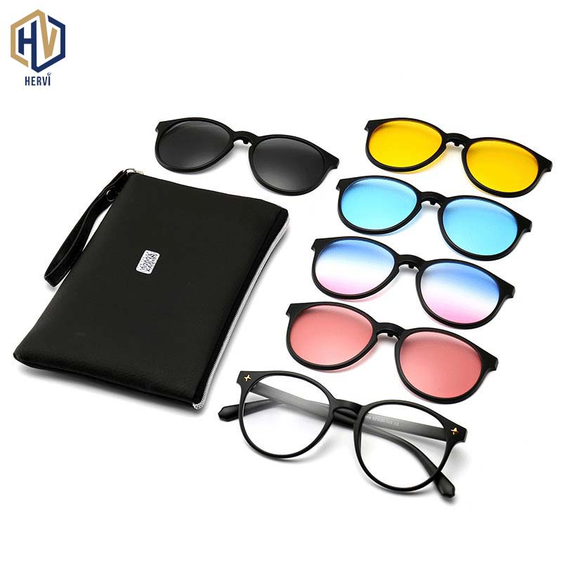 <font><b>5</b></font>+1 Fashion Polarized Light Round <font><b>Sunglasses</b></font> Men Women <font><b>Clips</b></font> <font><b>Magnet</b></font> Big Frame Sun Glasses High Quality <font><b>Lens</b></font> Eyeglasses UV400 image
