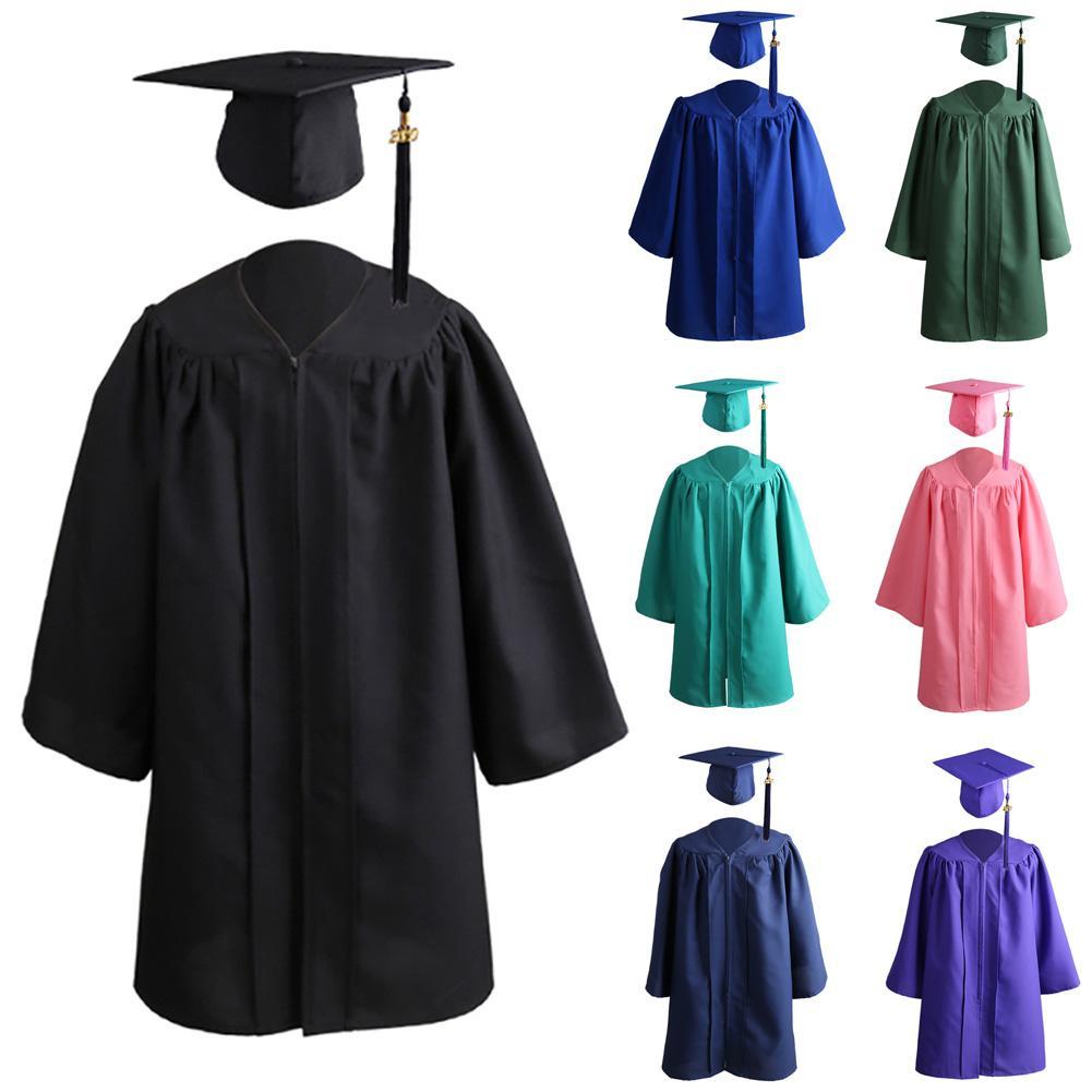 2020 Kids Solid Color Zip Closure Kindergarten Graduation Gown Tassel Decor Cap