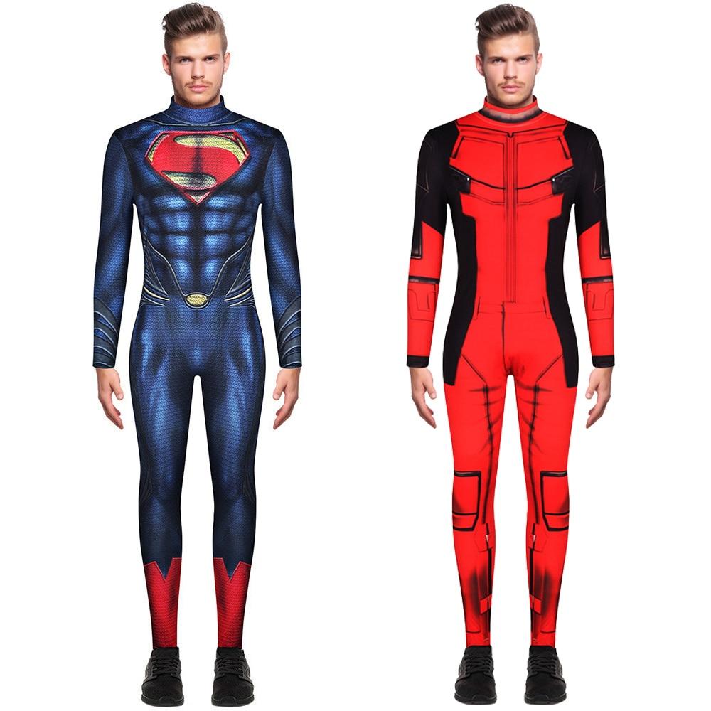 Superman Cosplay Costume Superhero Bodysuits For Adult Super Man Heros Costume Zentai Jumpsuits Back Zipper Halloween Party