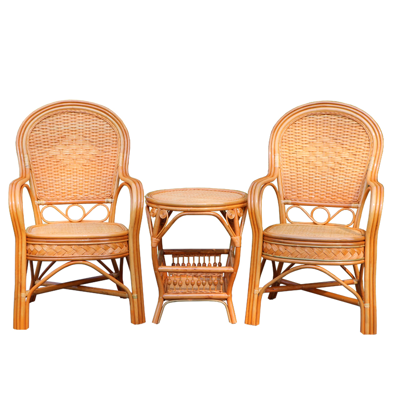 Rattan chair elderly chair high back outdoor leisure balcony office Mahjong chair Indonesia natural single real rattan chair