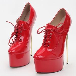 Image 5 - jialuowei Brand New Women Pumps 22CM High Heel Pointed Toe Platform Ladies Sexy Fetish Simple Fine Gold Metal Heel Singles Shoes
