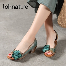Johnature 2020 New Spring Platform Sandals Shoes Woman Genui
