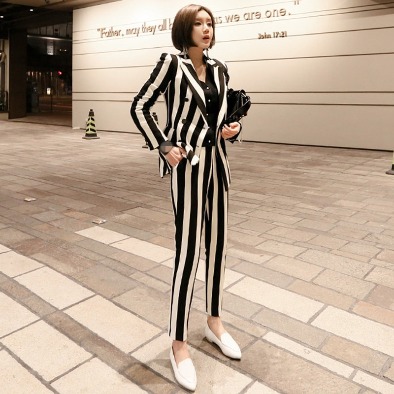 2020 New Winter Womens Striped Double Breasted Blazer Jacket Slim Fit Pencil Pants 2 Pieces Suits Sets Business OL Sets Female