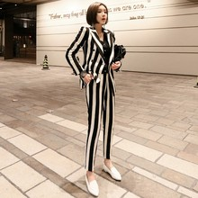 2020 New Winter Womens Striped Double Breasted Blazer Jacket Slim Fit Pencil Pants 2 Pieces