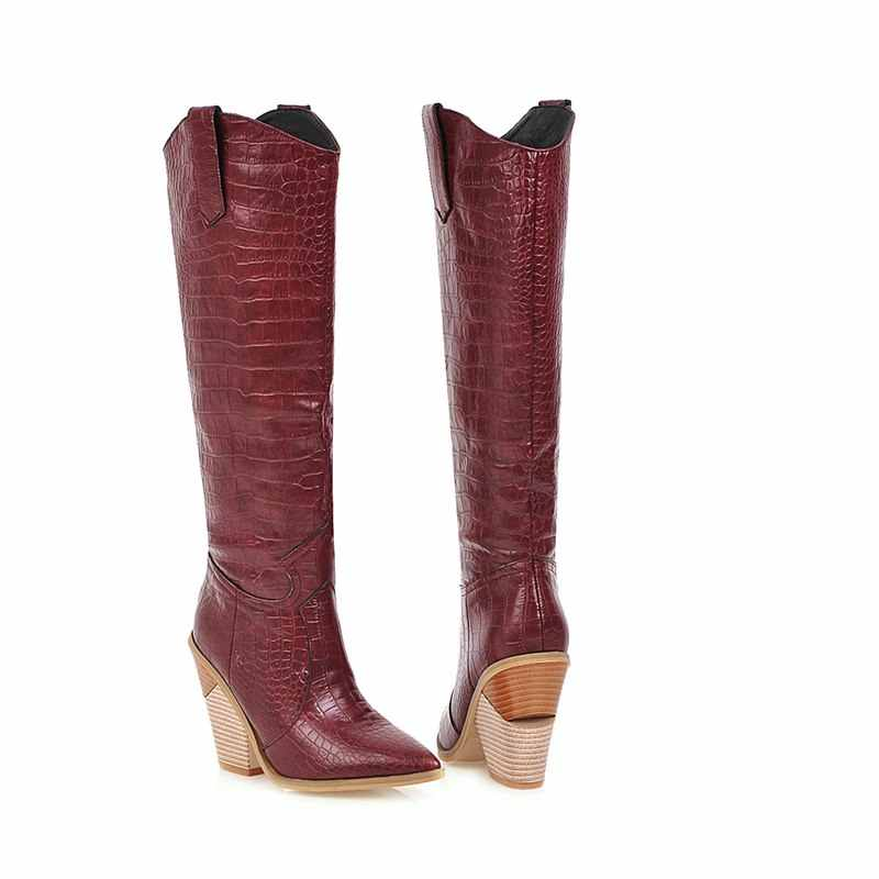 Artı boyutu 34-48 yeni 2020 diz yüksek çizmeler kadın sonbahar kış ayakkabı avrupa kovboy batı çizmeler bayan ayakkabıları moda botları