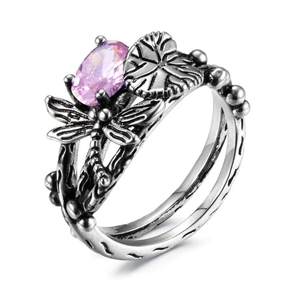 Bague Ringen Vintage Silver 925 biżuteria pierścionki dla kobiet owad kształt owalny niebieski zielony fioletowy różowy pierścienie z kamieniami szlachetnymi prezent na rocznicę