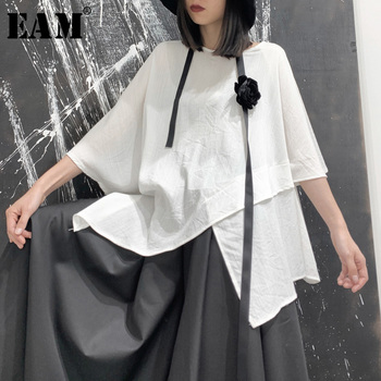 [EAM] Women White Asymmetrical Big Size T-shirt New Round Neck Three-quarer Sleeve  Fashion Tide Spring Autumn 2021 19A-a679 - discount item  32% OFF Tops & Tees