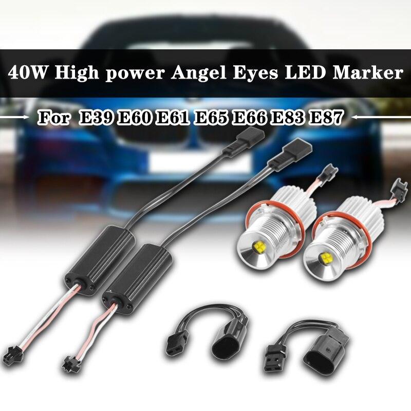 1Pair 40W Car LED Flashing Angel Eyes Marker High Power Light Lamp H8 Bulb For BMW E39 E60 E61 E65 E66 E83 E87 63126904048