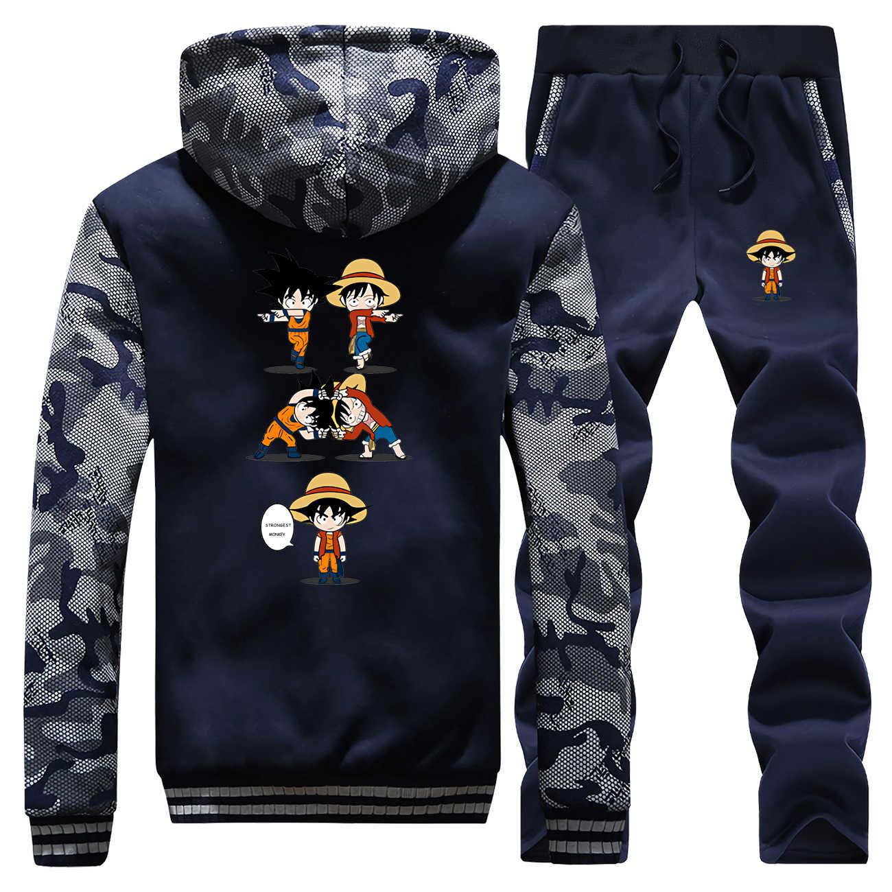 Забавные камуфляжные куртки, крепкая обезьяна, один предмет и Драконий жемчуг, толстый флис, мужской комплект, Harajuku, теплая спортивная одежда, Япония, аниме, толстовки