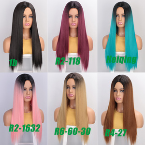 Image 4 - AISIBEAUTY Synthetic Womens Wig Omber Blonde Long Straight Wig High Temperature Fiber Natural  Hair for African American Women