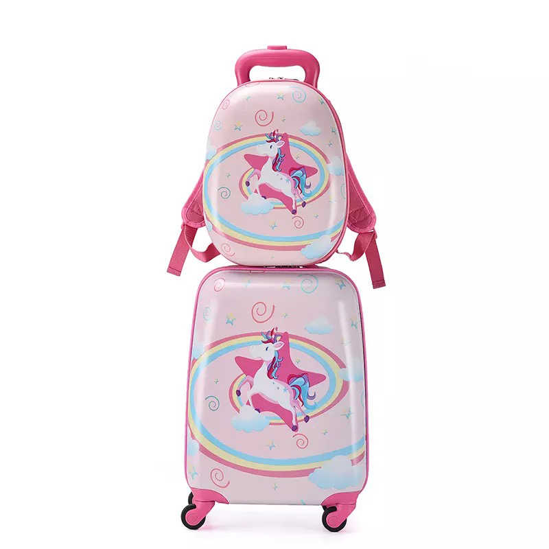 Children's cartoon trolley suitcase with backpack set cute 13 inch bag boys girls 18 inch carry on rolling luggage travel valise