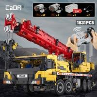 Cada City telecomando ingegneria veicolo camion gru blocchi MOC tecnico RC auto mattoni giocattoli fai da te per regali per bambini