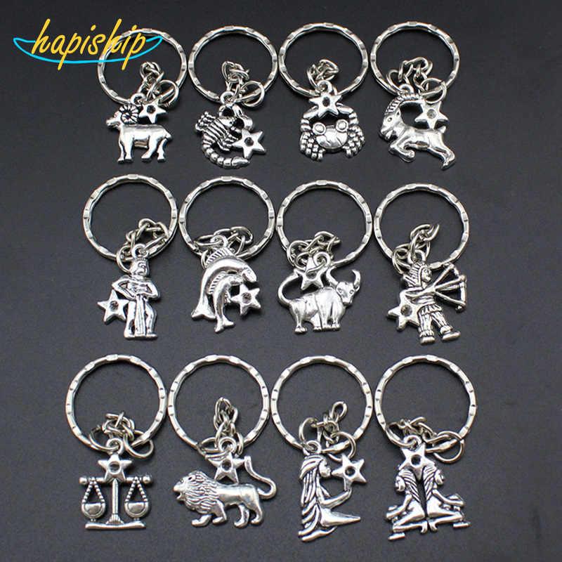 Hapiship Mulheres/Men's Moda Artesanal Constelação 12 Chaveiros Chave Anéis Liga de Prata Do Vintage Encantos Presentes YSDY30 Atacado