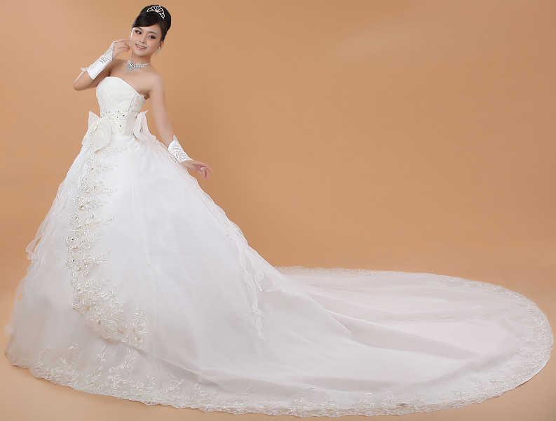 Bầu với Đuôi Dài Plus Kích Thước Áo Váy Phối Ren Kèm Váy Áo Cưới Cô Dâu Xe Lửa Áo