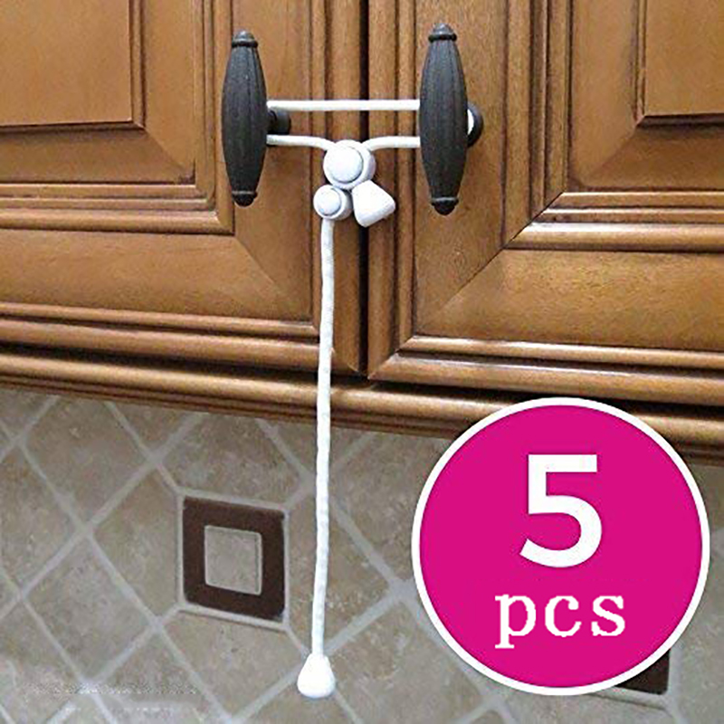 5Pcs Baby Child Safety Cabinet Lock Rope For Knobs Child Safe Cabinets Latches Strap For Kids Proofing Kitchen Buckle Hooks Door