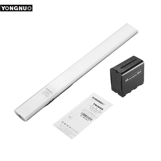 YONGNUO YN360S כף יד LED וידאו אור + BB 6 AA סוללות קייס 5500K Dimmable APP שלט רחוק כף יד צילום אור