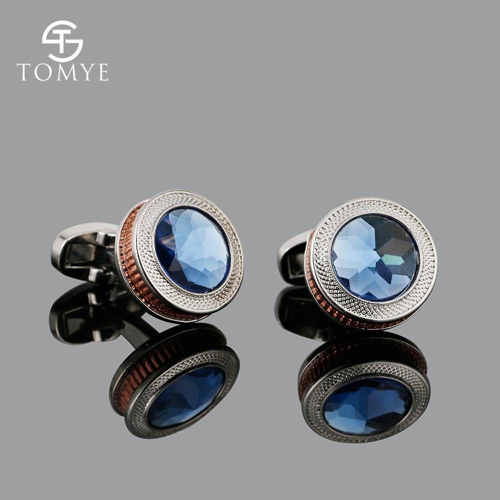 TOMYE Unique Rose Gold Luxury Silver Blue Crystal Copper Gear Wedding Cufflinks Men XK19S104