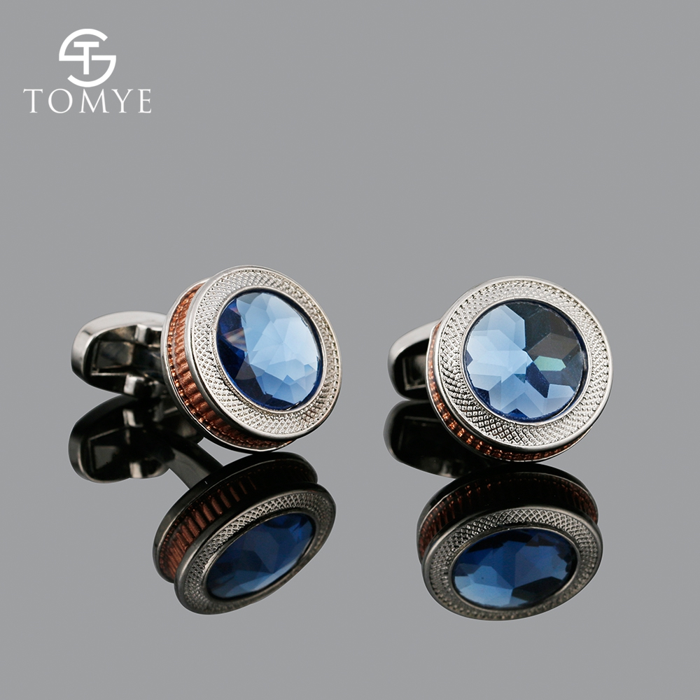 TOMYE Unique Rose Gold Luxury Silver Color Blue Crystal Copper Gear Wedding Cufflinks Men XK19S104