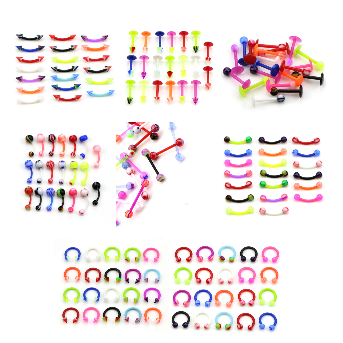 20Pcs/set Silicone Belly Piercing Navel Flexible Bar Balls Piercing Nombril Stud Earring Fashion Body Jewelry