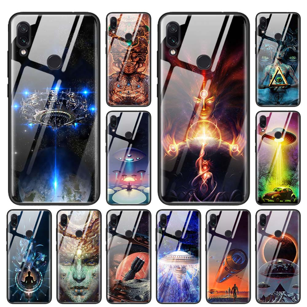 Cool Alien UFO Art Tempered Glass Case for Redmi Note 6 7 8 Pro 8T 9T K20 K30 <font><b>Xiaomi</b></font> <font><b>Mi</b></font> A3 CC9 CC9E Note 10 Pro <font><b>Cover</b></font> image