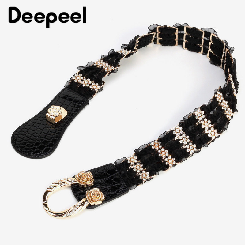 Deepeel 1pc 4.5*68/78cm Women PU Lace Rhinestone Patchwork Cummerbunds Alloy Flower Horseshoe Buckle Girdle For Dress JeansCB641