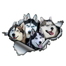 Interesting Funny Huskies Car Sticker Decal Reflective Stickers 3D Car Styling Pet Dog Decals Sunscreen Waterproof,13cm*9cm 6zstickers sugar skulls reflective stickers decals waterproof sunscreen motogp x15