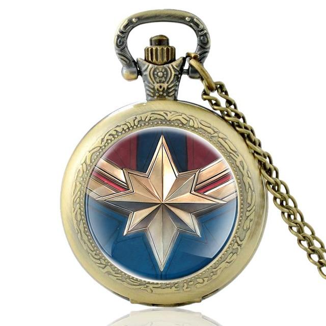 Vintage Bronze Captain Marvel Quartz Pocket Watch Charm Men Women Fashion Necklace Pendants Jewelry Gifts
